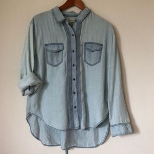 Knox Rose Blue Button Up Long Sleeve | M